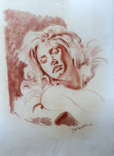Art work by Luigi Pignataro Figura femminile - blood paper