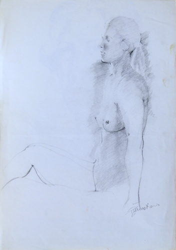 Quadro di Luigi Pignataro Nudo seduto - carboncino carta