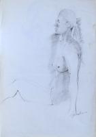 Quadro di Luigi Pignataro - Nudo seduto carboncino carta