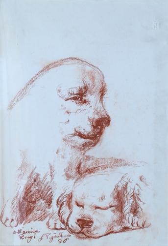 Quadro di Luigi Pignataro Cuccioli di cane  - sanguigna carta