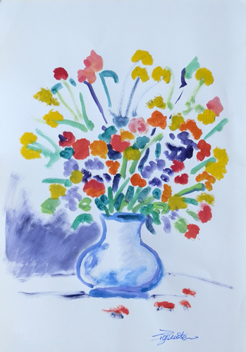Quadro di Luigi Pignataro Vaso di fiori - acquerello carta