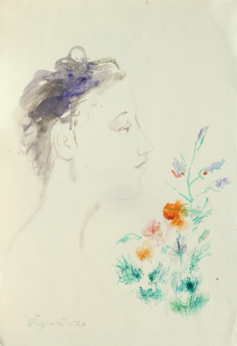 Quadro di Luigi Pignataro Figura con fiori - acquerello carta