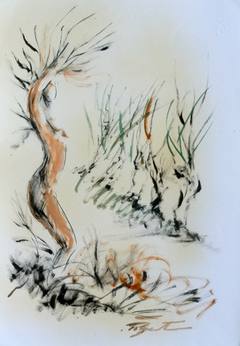 Quadro di Luigi Pignataro Corpo in sintonia con la natura  - acquerello carta