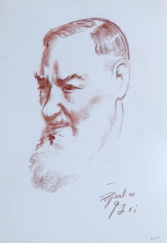 Art work by Luigi Pignataro Padre Pio - blood paper