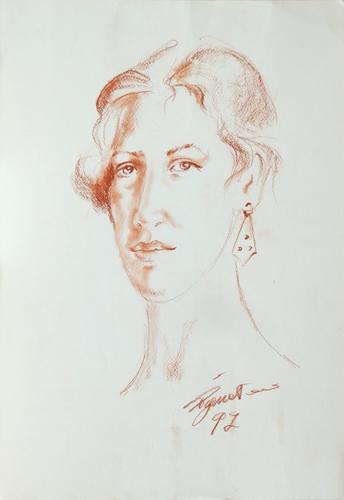Quadro di Luigi Pignataro La donna con l'orecchino - sanguigna carta