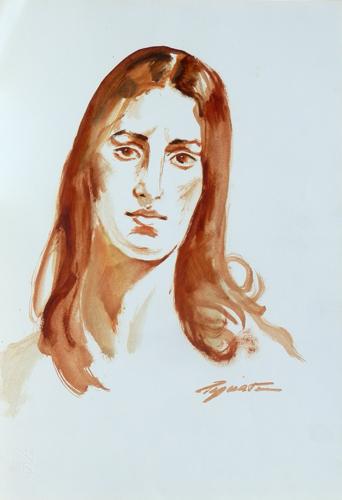 Quadro di Luigi Pignataro Donna dai capelli lunghi - acquerello carta