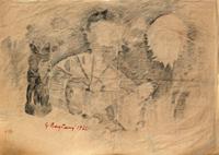 Quadro di Guido Borgianni - Scenografia teatrale carboncino carta