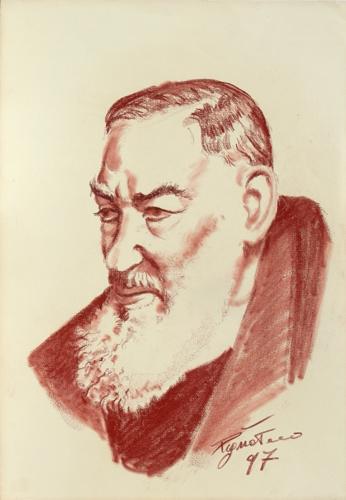 Quadro di Luigi Pignataro Padre Pio - sanguigna carta