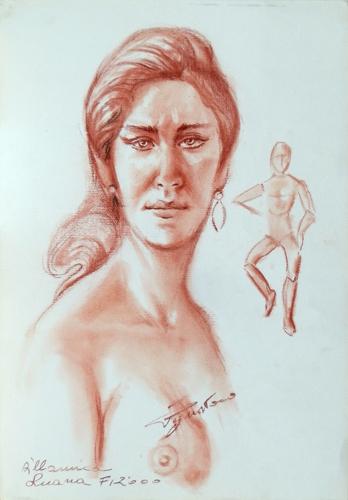 Quadro di Luigi Pignataro Volto di donna con marionetta - sanguigna carta