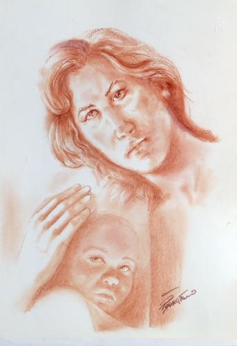 Quadro di Luigi Pignataro Maternità - sanguigna carta