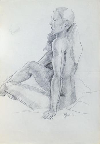 Quadro di Luigi Pignataro Studio di nudo - carboncino carta