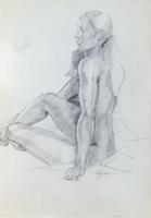 Quadro di Luigi Pignataro - Studio di nudo carboncino carta