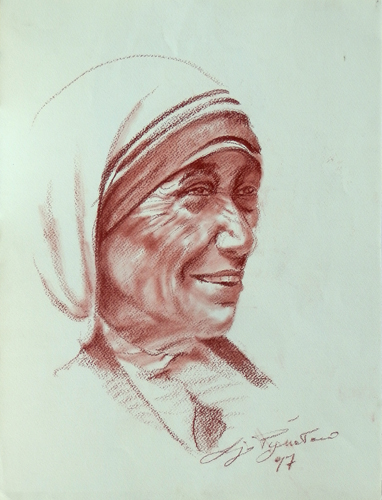 Art work by Luigi Pignataro Maria Teresa di Calcutta - blood paper