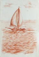 Quadro di Luigi Pignataro - Barca a vela  sanguigna carta