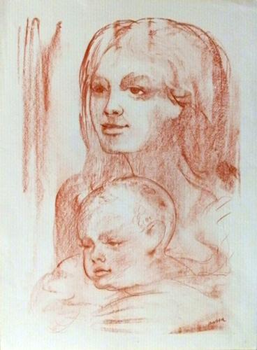 Quadro di firma Illeggibile Maternità - stampa carta