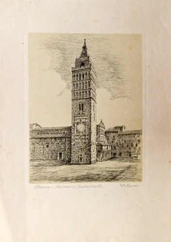 Quadro di V. Faini Duomo di Pistoia - stampa carta