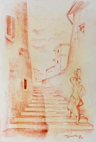 Quadro di Luigi Pignataro In paese - sanguigna carta
