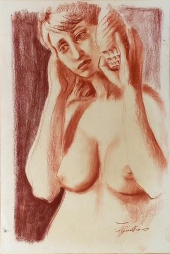 Quadro di Luigi Pignataro Donna e conchiglia - sanguigna carta