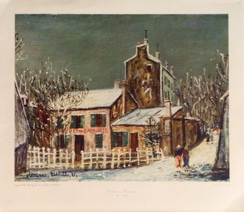 Art work by Maurice Utrillo Christmas in Montmartre - print paper