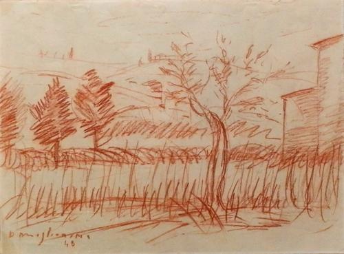 Art work by Dino Migliorini Paesaggio - blood paper