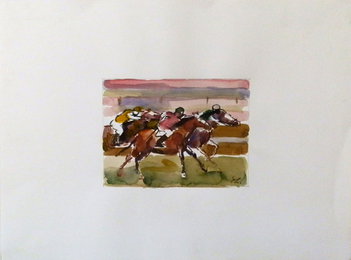 Quadro di Emanuele Cappello Corsa di cavalli - mista carta