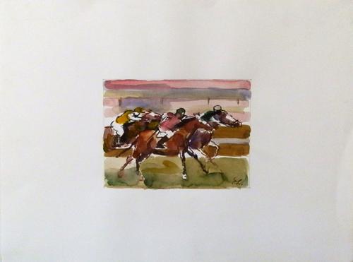 Art work by Emanuele Cappello Corsa di cavalli - mixed paper