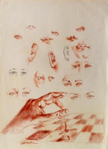 Quadro di Luigi Pignataro Osservazione - sanguigna carta