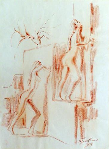 Quadro di Luigi Pignataro Figure - sanguigna carta