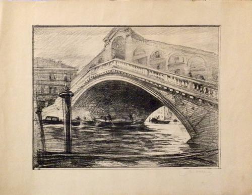 Quadro di firma Illeggibile Ponte di Rialto - litografia carta