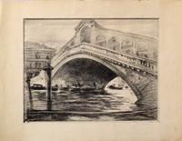 Quadro di firma Illeggibile - Ponte di Rialto litografia carta