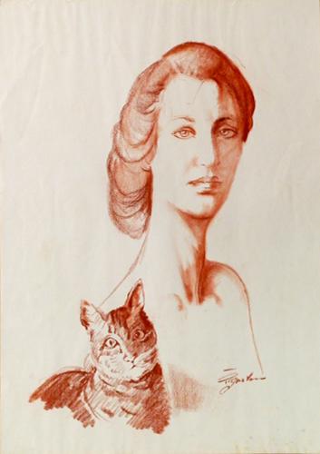 Quadro di Luigi Pignataro Donna con gatto - sanguigna carta