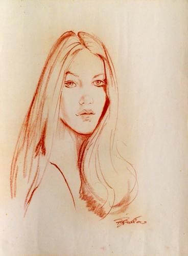 Quadro di Luigi Pignataro Ritratto di donna - sanguigna carta