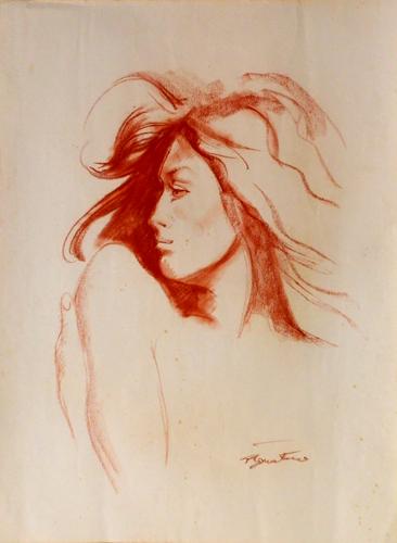 Quadro di Luigi Pignataro Figura femminile - sanguigna carta