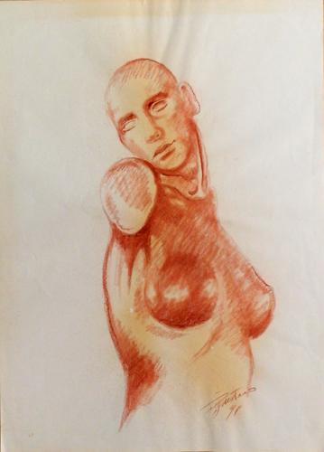 Art work by Luigi Pignataro Studio mezzobusto - blood paper
