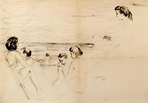 Quadro di Rodolfo Marma Bagnanti - penna biro cartone