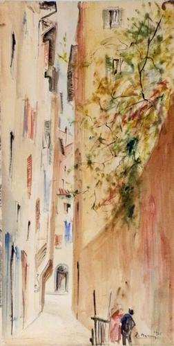 Quadro di Rodolfo Marma Via del Fiordaliso - acquerello carta