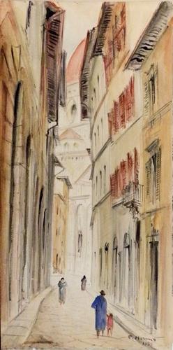 Art work by Rodolfo Marma Via dello Studio - watercolor paper