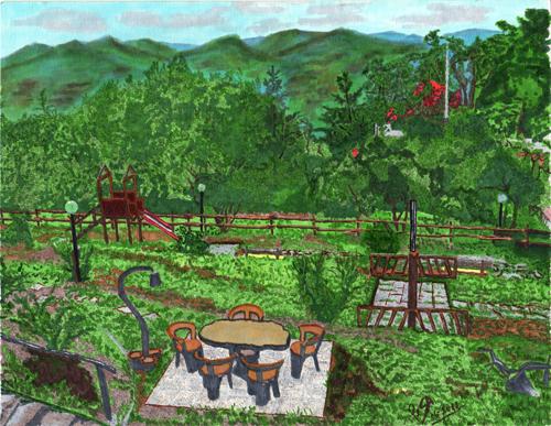 Quadro di  Setti Paesaggio - acquerello carta