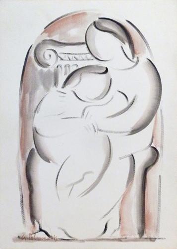Quadro di Giorgio Polykratis Maternità - acquerello carta