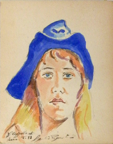 Quadro di Luigi Pignataro Il cappello di Anna - acquerello cartone