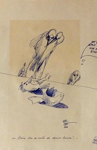 Quadro di Claude Falbriard Pulcini - penna biro carta