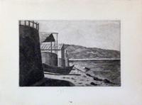 Quadro di  Anonimo - In riva al mare litografia carta