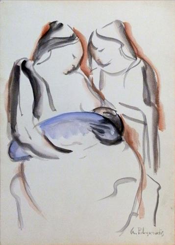 Quadro di Giorgio Polykratis Famiglia - acquerello carta