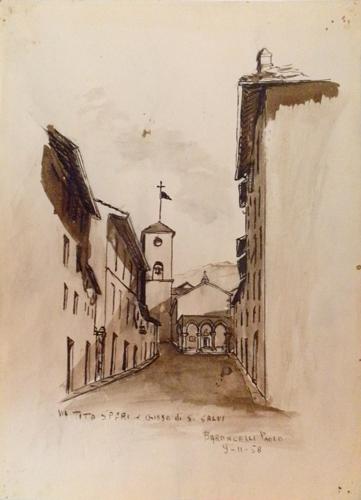 Art work by Paolo Baroncelli Via Tito Speri e Chiesa di San Salvi - watercolor paper