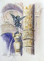 Quadro di Elio Bargagni  Cortile di Palazzo Vecchio