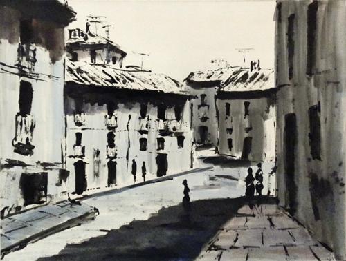 Art work by firma Illeggibile Scorcio di città - mixed paper