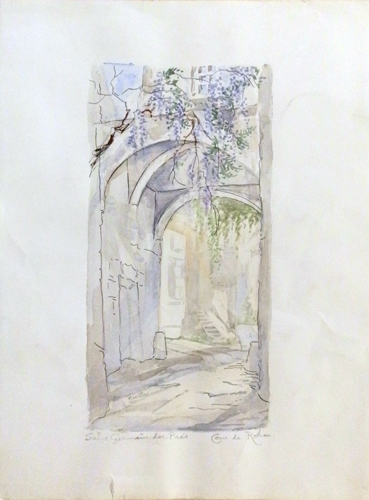 Art work by Roberto Lopez Fuentevilla Cur de Rohan - Saint Germain-Des-Pres - watercolor paper