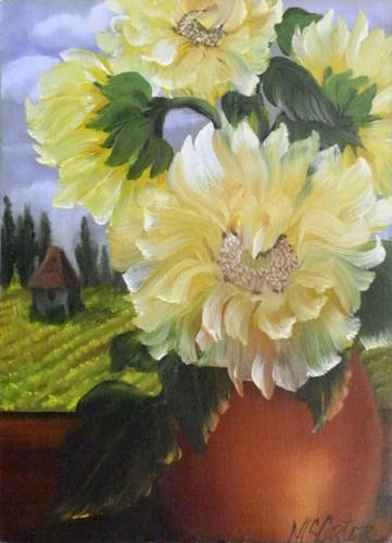 Art work by Janice Sue Mc Carter Vaso di fiori - varnish paper