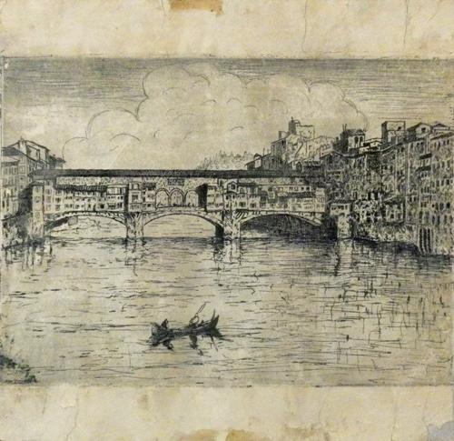 Quadro di  Anonimo Ponte Vecchio - incisione cartone