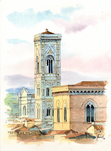 Art work by Roberto Lopez Fuentevilla Campanile di Giotto - watercolor paper